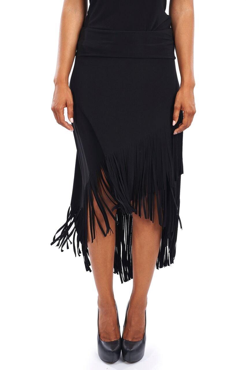 Joseph Ribkoff Mock-Wrap Jersey Skirt with Fringe Trim - Style 163081 - Size 4 by Joseph Ribkoff