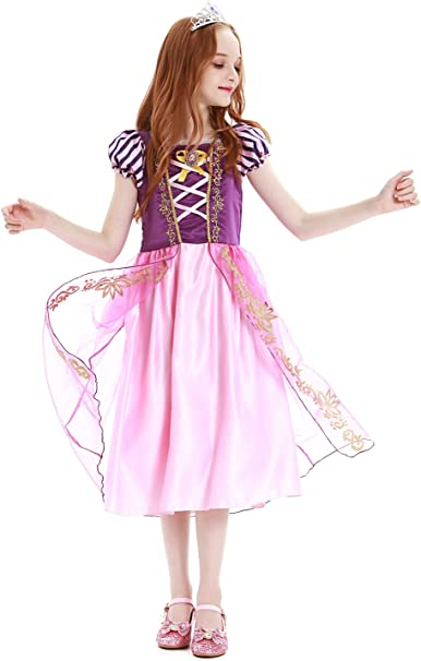YOSICIL Disfraz de Princesa Rapunzel para niñas Disfraz de ...