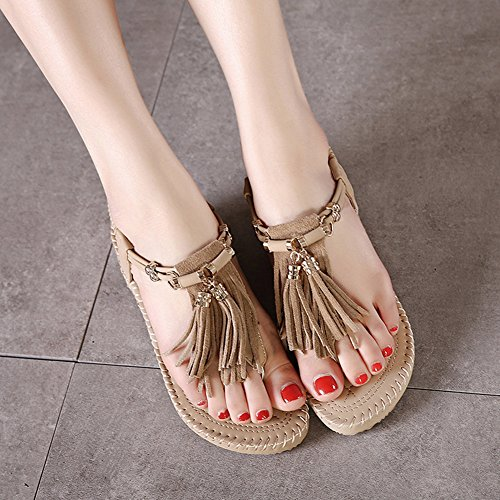 CHFSO Womens Retro Rome Fringe Wedges Thick Heel Sandals Shoes Apricot Ppc7epO