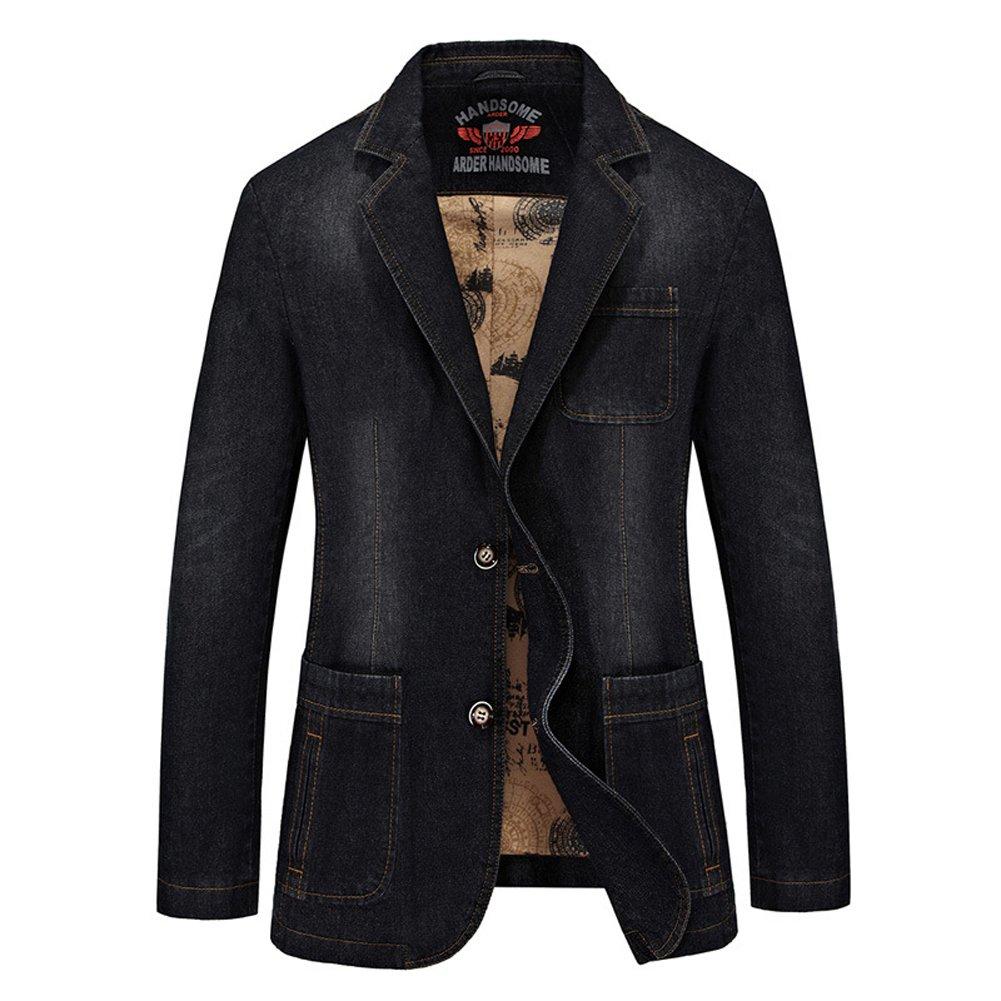 DeLamode Men Denim Business Suits Jeans Vintage Two Button Cowboy Blazer Black-S