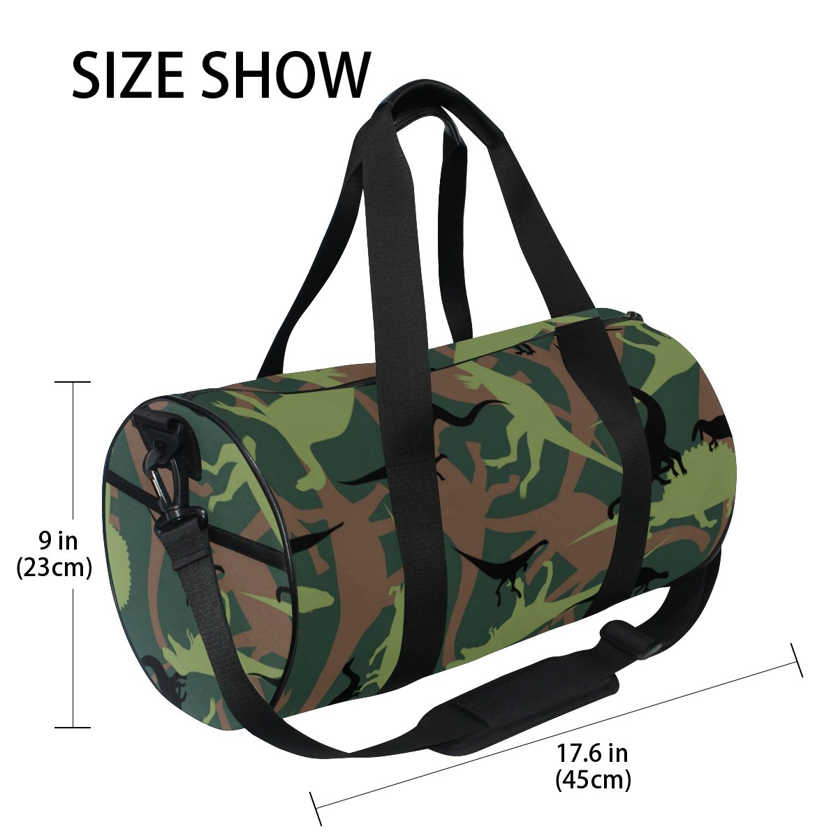 Naanle Dinosaur Camouflage Pattern Army Military Texture Camo Gym bag Sports Travel Duffle Bags for Men Women Boys Girls Kids by Naanle (Image #4)