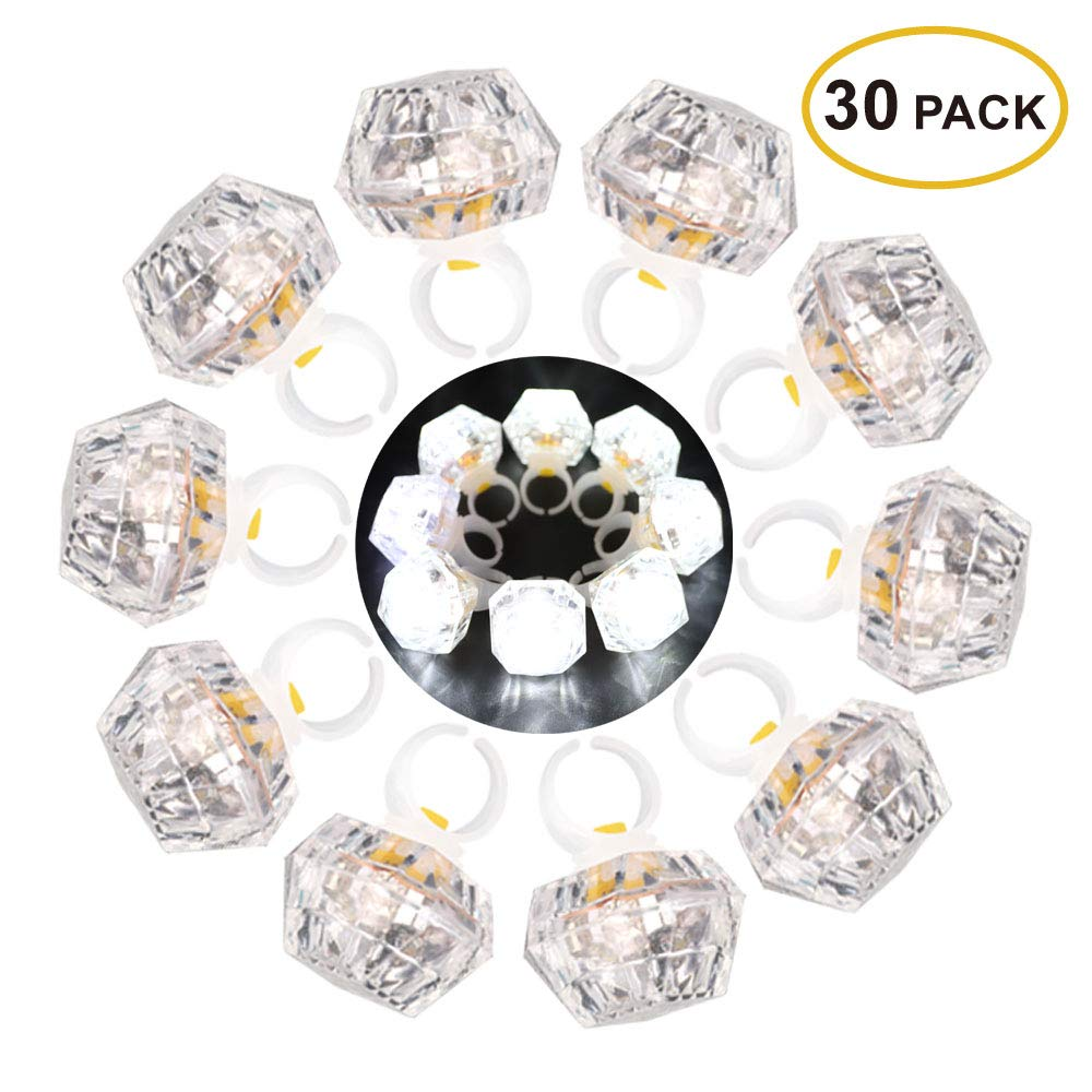 Leobee LED Light up Rings Toys, White Led Bumpy Rings for Birthday Bachelorette Bridal Shower Gatsby Party Favors, Clear Case 30 Pack