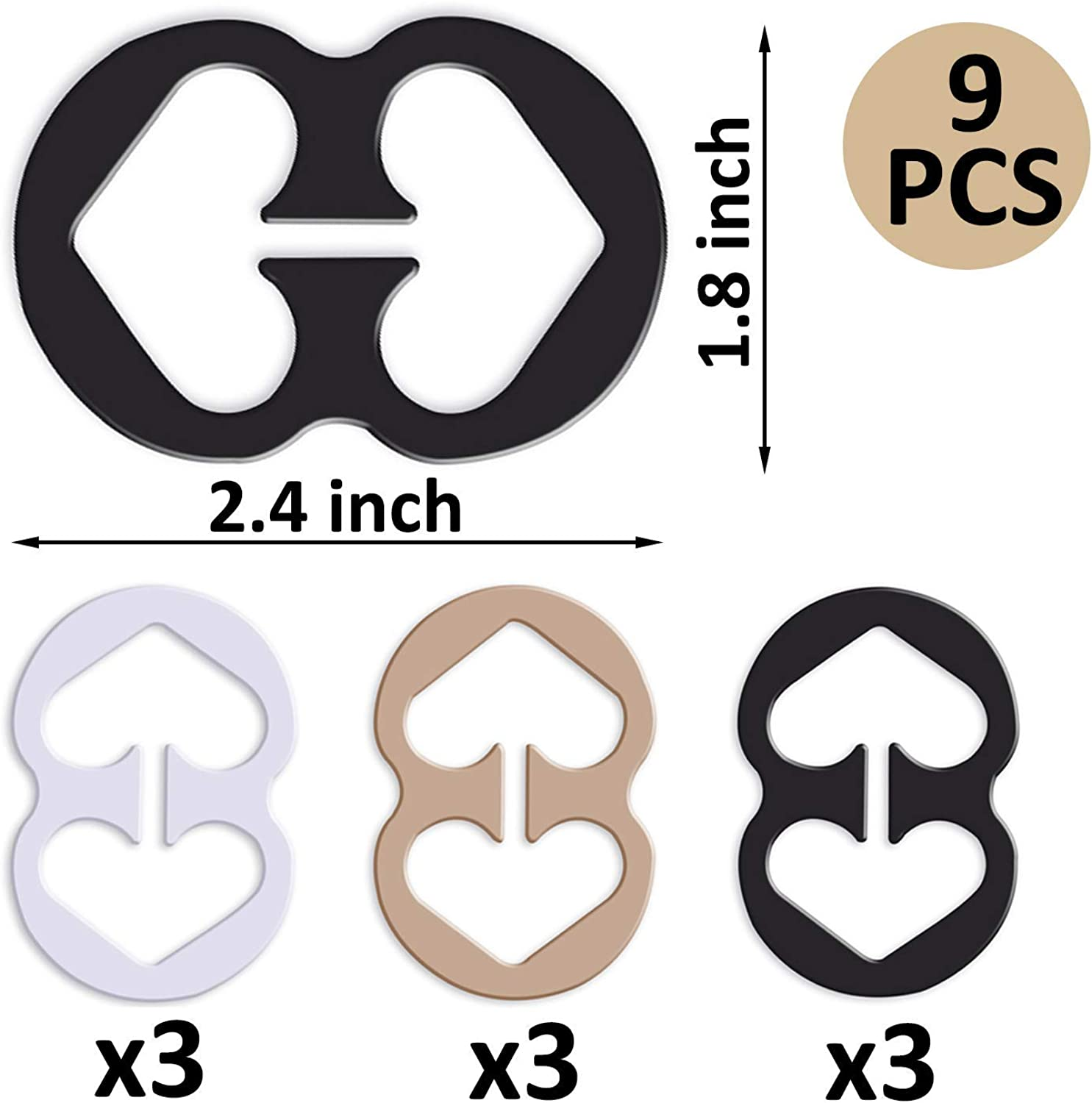 Black, Beige, Clear 9 Pcs Bra Strap Clips Conceal Straps Holders for Cleavage Enhance Control Non-Slip Bra Clips for Racer Back Tank Tops
