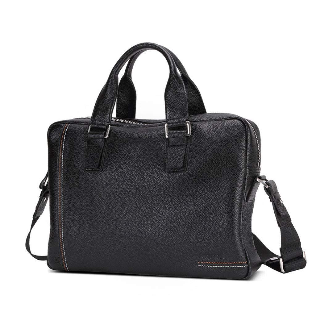 Leather One-Shoulder Diagonal Laptop Bag Color : Black, Size : M YYYTS Business Briefcase for Mens