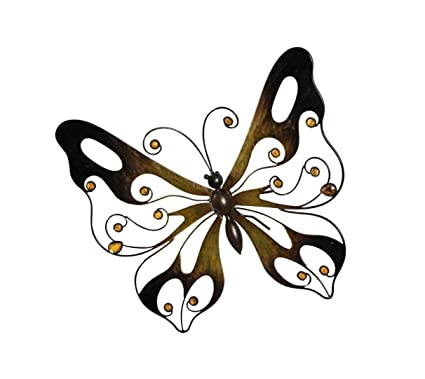 PSW   Wall Decor Metal Butterfly Wall Decor   Warm Brown Wall Art With  Glass Pearls