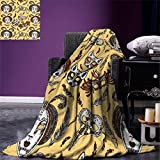 smallbeefly Masquerade Digital Printing Blanket Venetian Style Paper Mache Face Mask With Feathers Dance Event Theme Summer Quilt Comforter Mustard Brown White