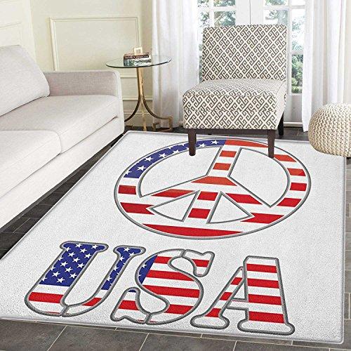 Groovy Area Silky Smooth Rugs Modern Peace Sign USA Flag Col