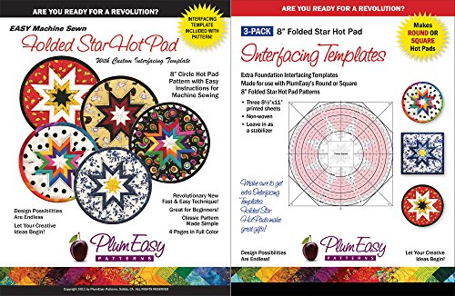 Folded Round Star Hot Pad Pattern Kit - Easy Machine Sewn Folded Star Pattern and 3 Pack Interfacing Template Refills By Plum Easy