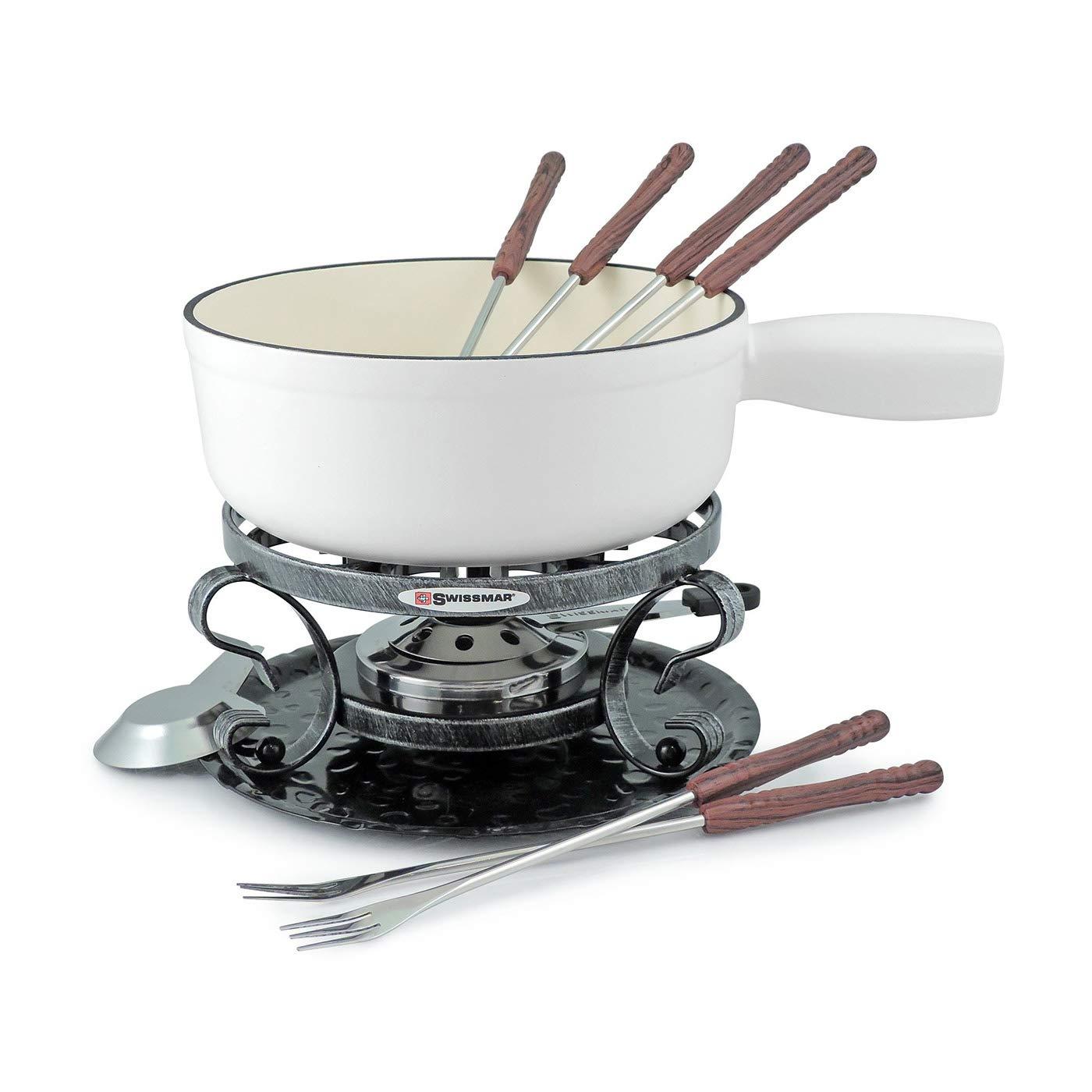 Swissmar - 9 Pcs Lugano Cast Iron Cheese Fondue Set (White Matte)