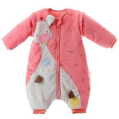 Barboteuse Bébé Fille Pyjama Hiver Cachemire Combainaison avec Manches Amovibles Chaud Naissance Dors bien - Baudet Rose 0-12 Mois
