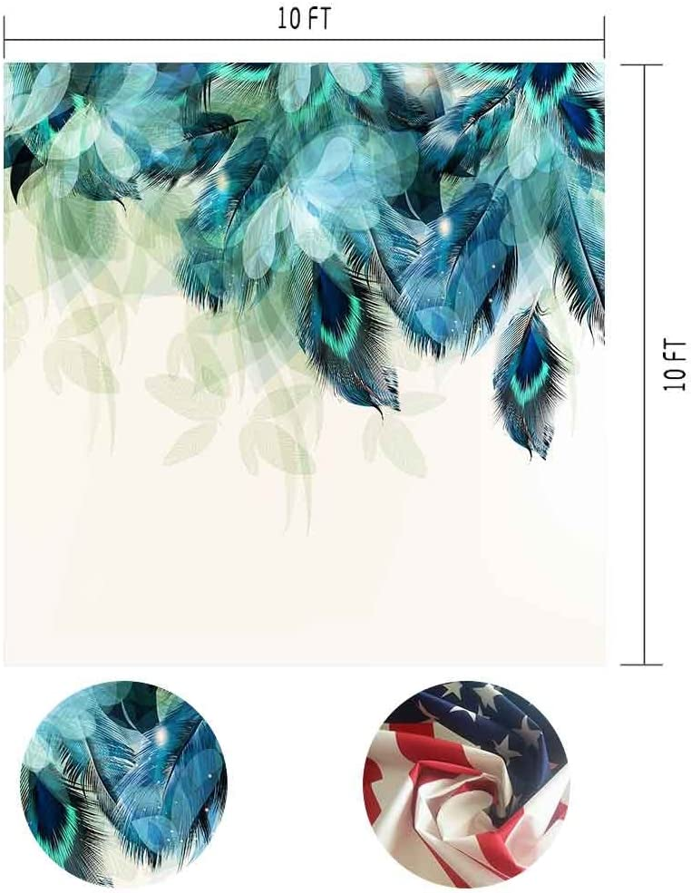6x6FT Vinyl Photography Backdrop,Peacock,Floral Feathers Wild Bird Photo Background for Photo Booth Studio Props