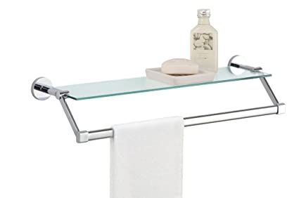 organize it all bathroom glass shelf with chrome towel bar - Bathroom Glass Shelves