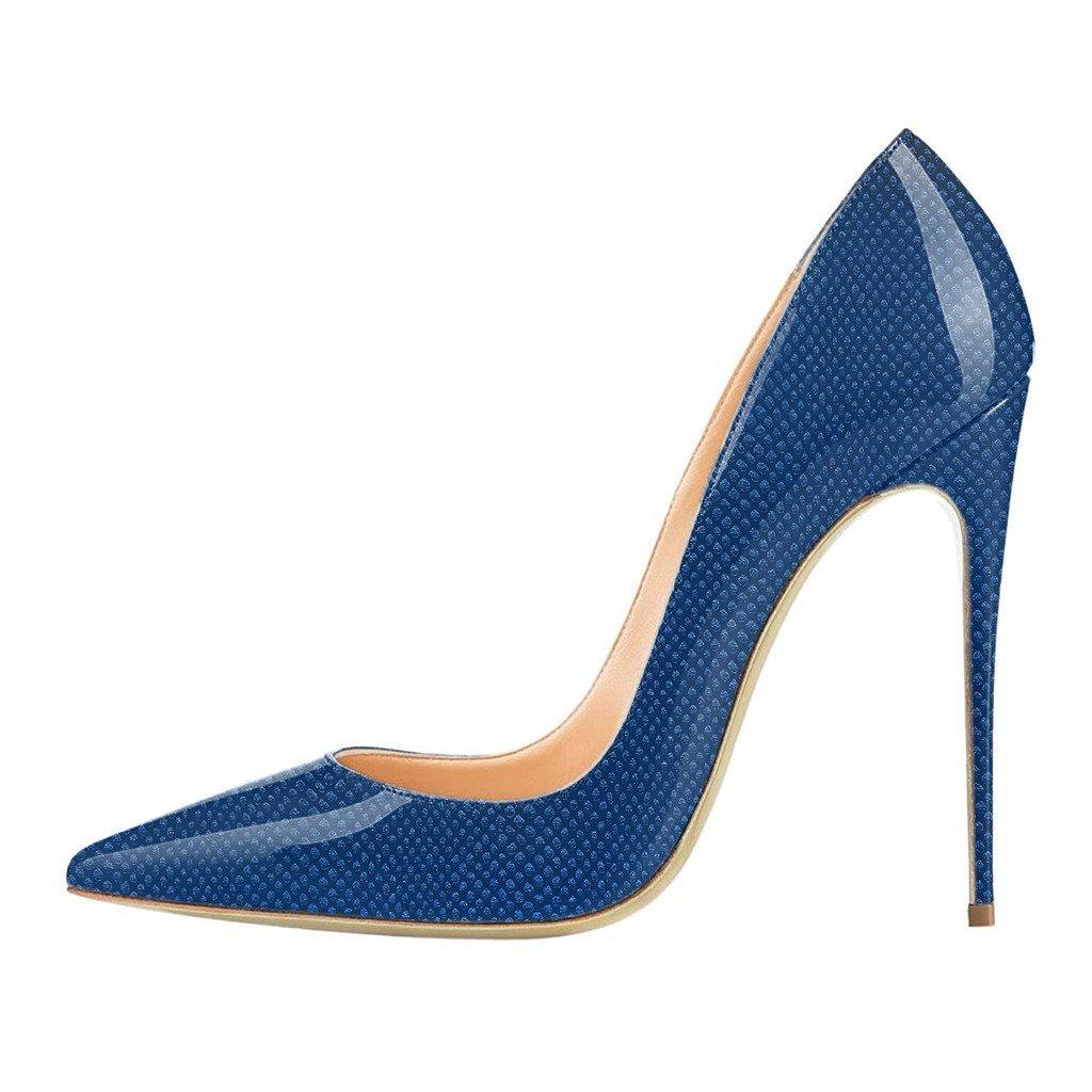 FSJ Women Fashion High Heel Stilettos Pointed Toe Pumps Evening Dress Printed Shoes Size 4-15 US B01MG0GCM8 6 B(M) US|Blue