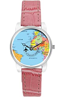Buy bigowl analogue blue dial mens watch 200map01 blu online at travel watch bigowl airplane world map design leather strap casual wrist watch for women gumiabroncs Images