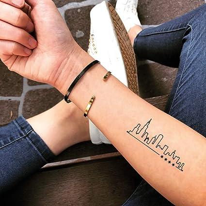 Tatuaje Temporal de Horizonte de chicago (2 Piezas) - www.ohmytat ...