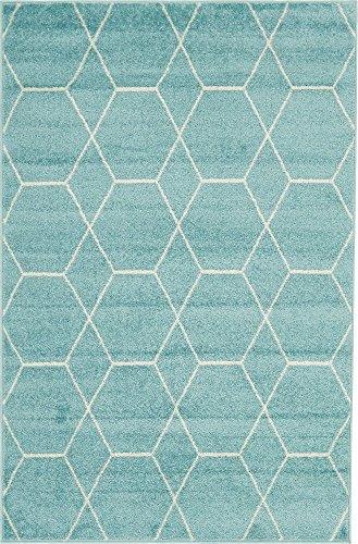 Unique Loom Trellis Frieze Collection Lattice Moroccan Geometric Modern Light Blue Area Rug (4' 0 x 6' 0)