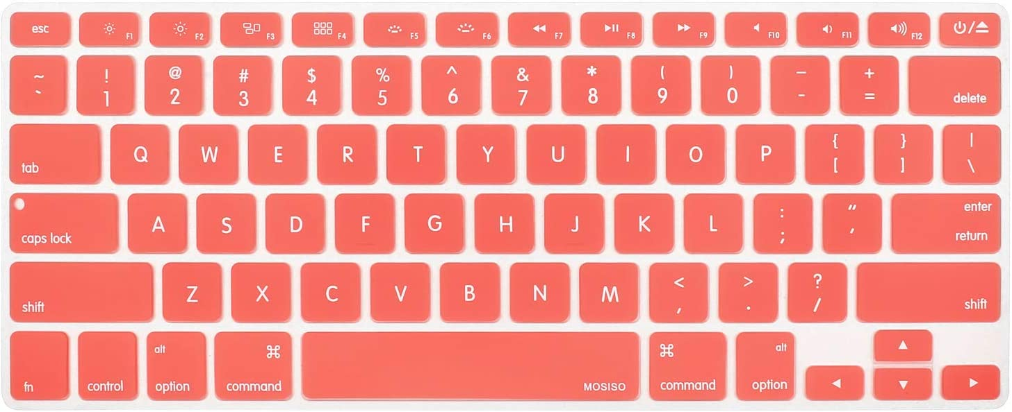 MOSISO Silicone Keyboard Cover Compatible with MacBook Pro 13/15 Inch (with/Without Retina Display, 2015 or Older Version),Older MacBook Air 13 Inch (A1466 / A1369, Release 2010-2017), Living Coral