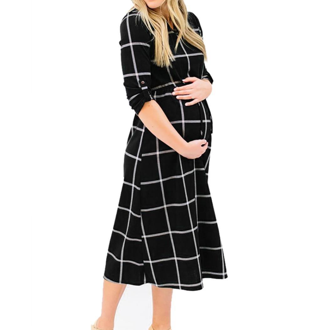 Hot Sale Women Casual Long Sleeve Maternity Dress Plaid Print