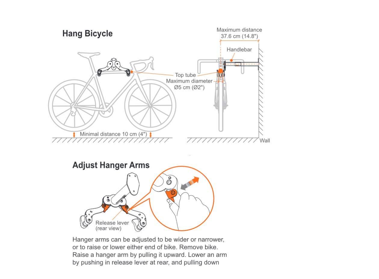 Ibera Horizontal Bicycle Bike Wall Hanger, Bike Hook Holder Storage Rack For Indoor Storage, 45 Degree Adjustable Angle To Keep Your Bike Level by Ibera (Image #9)