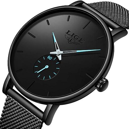 Relojes para Hombres,LIGE Negro Acero Inoxidable Impermeable Moda Simple Reloj Analógico de Cuarzo Banda de Malla Milanesa Negocio Vestido Casual Lujo ...