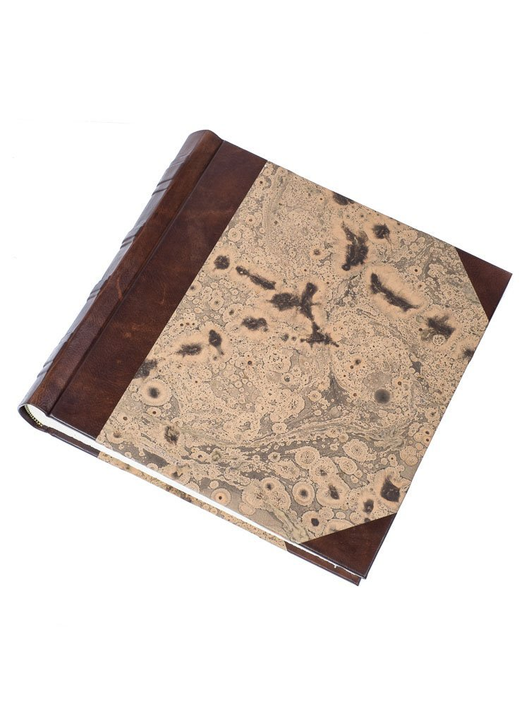 Dark-brown marbled photo album