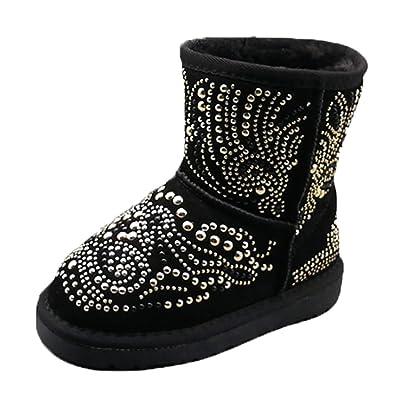 52af26f801cad OHmais Enfants Fille Botte Classiques Bottes de Neige Femmes Bottines  Fourrées Fille Chaussures Chaudes Hiver Cheville Plates Boots de Snow  Chaussons ...
