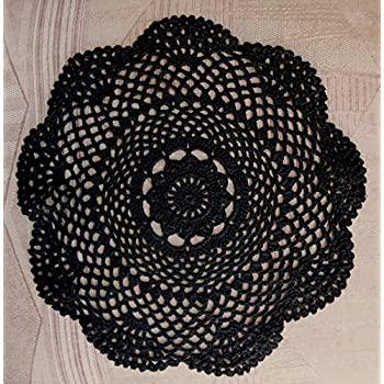 "PaperLanternStore.com 11.5"" Round Shaped Handmade Cotton Crochet Doilies - Black (2 PACK)"
