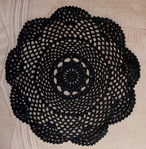 PaperLanternStore.com 11.5 Inch Round Shaped Handmade Cotton Crochet Doilies - Black (2 Pack)