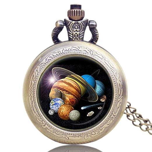 Reloj de Bolsillo para Hombre y Mujer, Planetas Sistema Solar, Cuarzo, Relojes de Bolsillo Antiguos, Exquisito Regalo para Hombres: Amazon.es: Relojes