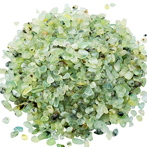 SUNYIK Green Prehnite Tumbled Chips Stone,Crushed Crystal Quartz Pieces,Irregular Shaped Stones,1pound(About 460 ()