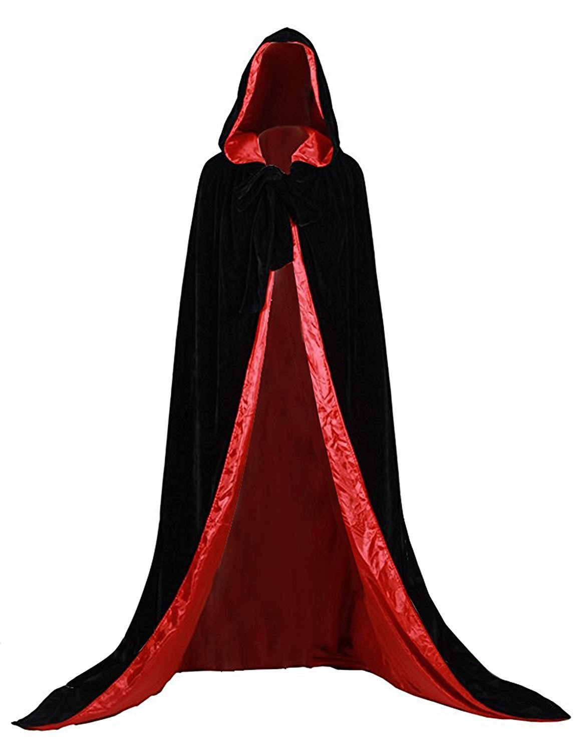 Black Red Halloween Grim Reaper Hood Cloak Witch Medieval Cape Robe Cosplay Costumes