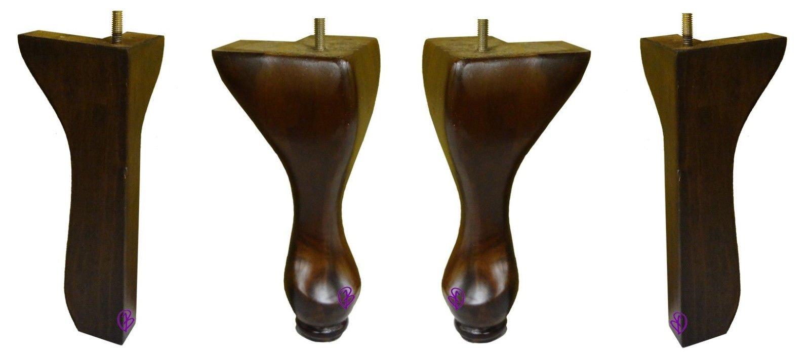 8 1/2'' Queen Wincher Chair Wood Set of 4 Front & Back Legs Dark Walnut Finish with 5/16'' Hanger Bolt