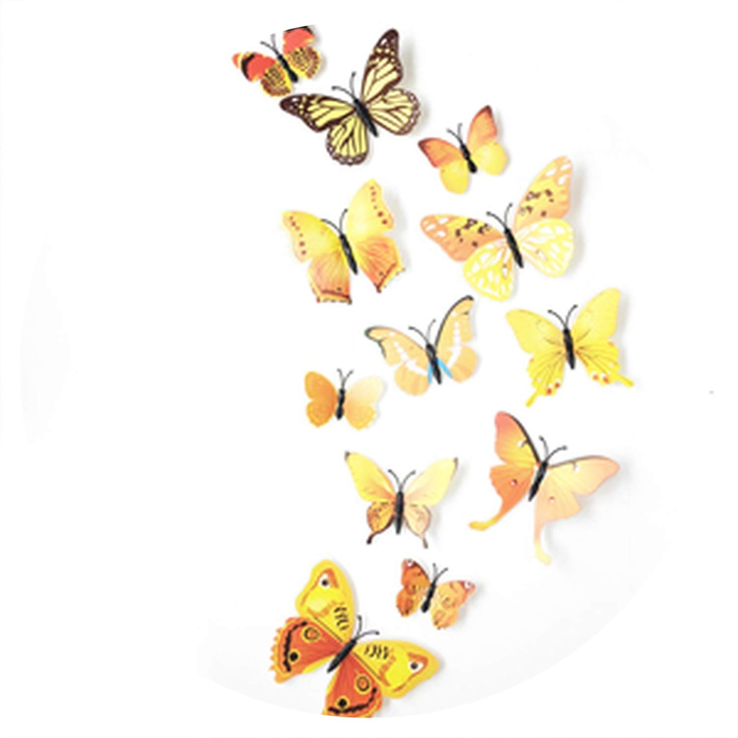 12Pc 3D Butterflies On The Wall Stickers Home Decor Wall Poster Art Adhesive Sticker Wedding Decor Vinyl Wall Decals Muursticker,Yellow