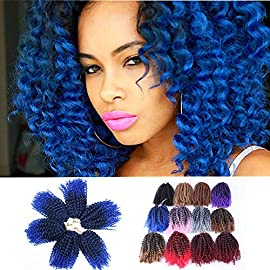 "3pcs/Pack 8"" Afro Kinky Twist Hair Crochet Braids Short Ombre Burgundy Braiding Hair Synthetic Marlybob Curly Crochet Hair Pieces (T1B/BUG)"