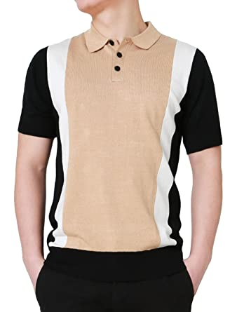 85d8d9d944b19 uxcell Men Color Block Paneled Knitted Cotton Short Sleeves Golf Polo Shirts  Small Beige