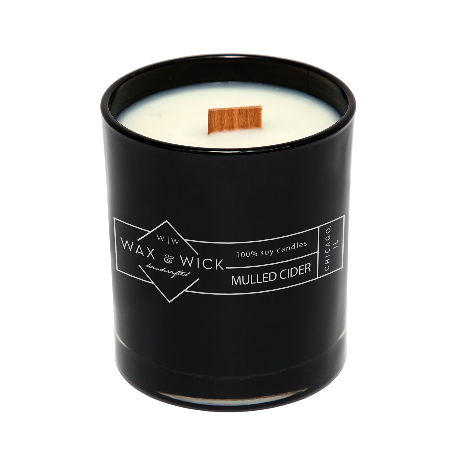 Scented Soy Candle: 100% Pure Soy Wax with Wood Double Wick | Burns Cleanly up to 60 Hrs | Mulled Cider Scent - Notes of Apple, Nutmeg, Vanilla, Caramel. | 12 oz Black Jar by Wax and Wick by Wax & Wick (Image #2)
