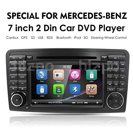 hizpo Car GPS Navigation in Dash Double 2 Din Radio for Mercedes Benz ML Class W164