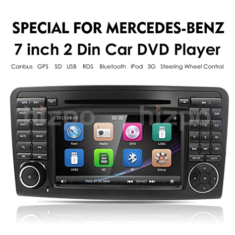 hizpo Car GPS Navigation in Dash Double 2 Din Radio for Mercedes Benz ML Class W164 2005-2012 & ML300 & ML350 & ML450 & ML500 DVD Player GPS Navigation 7