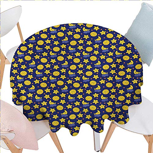 BlountDecor Baby Stain Resistant Wrinkle Round Tablecloth Funny Night Sky Chipper Moons and Stars Sleeping Time Abstract Cartoon Round Wrinkle Resistant Tablecloth D36 Yellow Orange Navy -