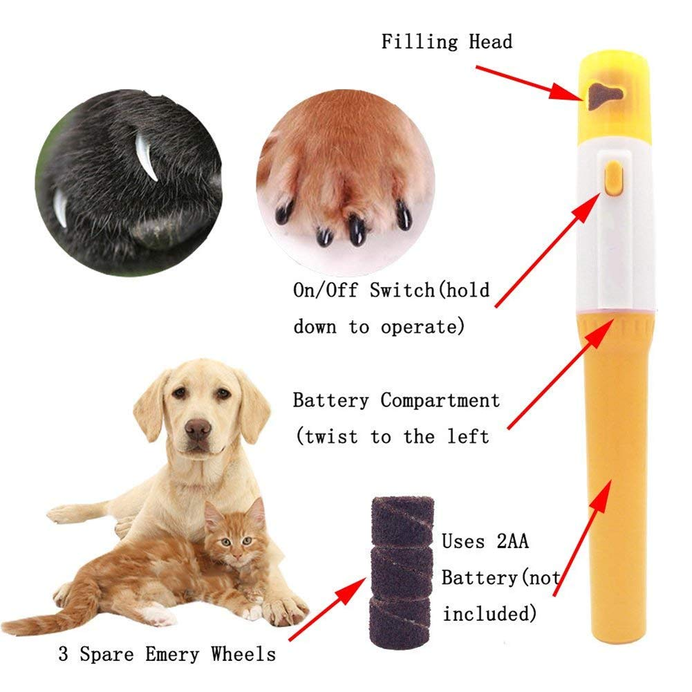 Mini Electric Pet Nail Clippers, Pet Nail Grinder Trimmer Shaping Smoothing Nail File, Pet Grooming Suppliesfor Dogs Cats Rabbits Birds SEALEN