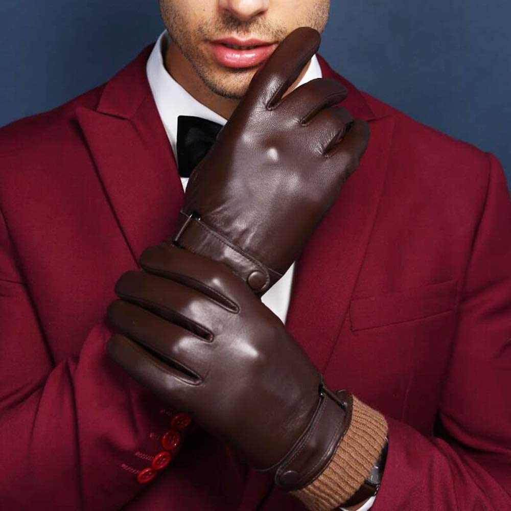 Agelec Gloves Mens Leather Autumn and Winter Thick Velvet Warm Gloves Touch Screen Small Goatskin Riding Gloves Motorcycle Windproof Leather Gloves Men Driving Mitten