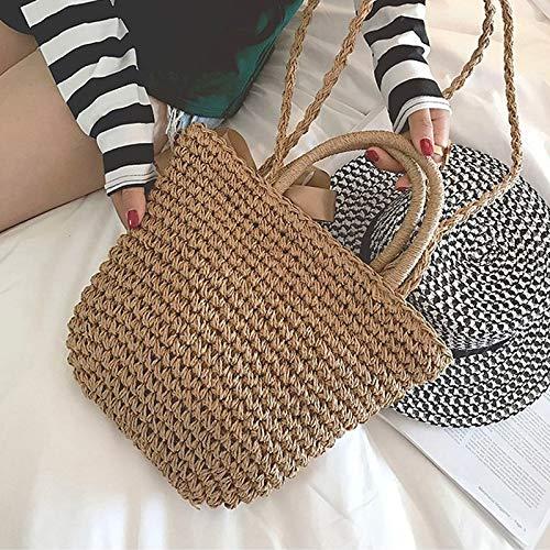 WANGZWUP Hand Woven Bag Butterfly Buckle Rattan Summer Handbag Single Shoulder Straw Bags Beach Bag