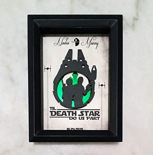 3d Personalized Wedding Gift Star Wars Shadowbox 5x7 Framed Papercraft Han And Leia Inside A Millennium Falcon Nerdy Wedding Gift With Your