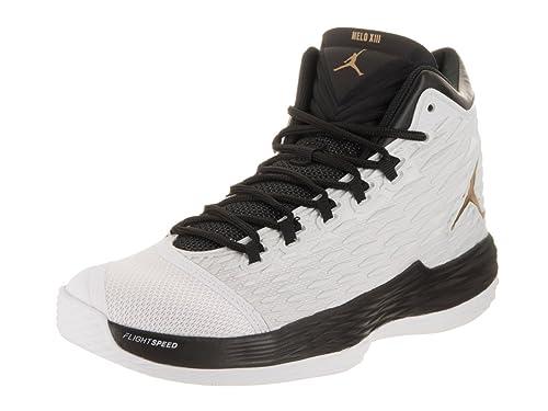 1c76e3765cb7f Nike Jordan Men s Jordan Melo M13 White Metallic Gold Black Basketball Shoe  10 Men