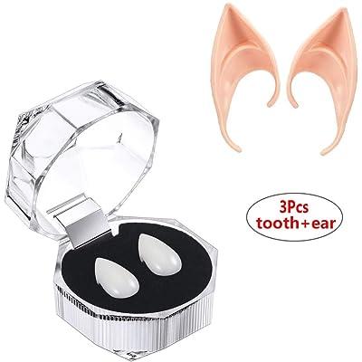 3 Pares Latex Elf Ear + 3 Pares de Colmillos de Vampiro Dientes para Accesorios de Disfraces de Fiesta de Halloween: Hogar