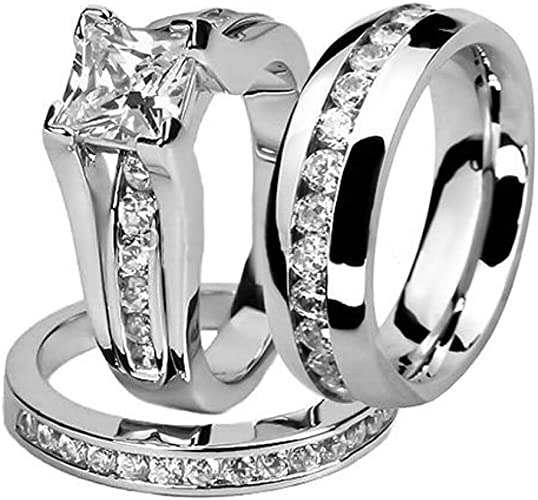 Amazon Com Marimor Jewelry His And Hers Stainless Steel Princess
