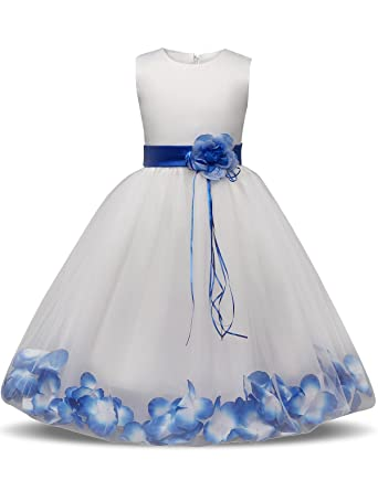 0706970be NNJXD Girl Flower Petal Bowknot Christening Wedding Bridesmaid Formal Party  Dress 0-8 Years: Amazon.co.uk: Clothing