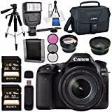 Canon EOS 80D DSLR Camera with 18-135mm IS USM Lens + 58mm Wide Angle Lens + 58mm 2x Lens + Canon 100ES EOS Shoulder Bag Bundle