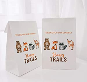 36pcs Woodland Party Favor Bags, Forest Animals Party Bags with Thank You Stickers, Woodland Baby Shower Decorations Trails Bags, Woodland Birthday Party Supplies