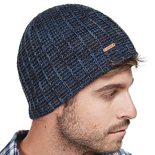 (LETHMIK Knit Skull Beanie Cap Winter Warm Daily Hat with Mix Mesh Knitted Navy)